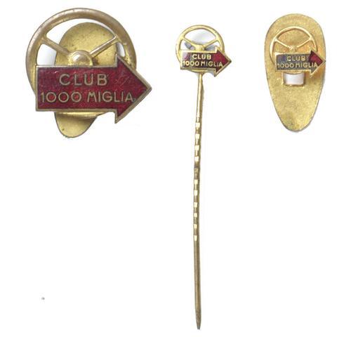 Three Club 1000 Miglia member's badges, 1950s,