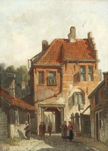 Adrianus Eversen (Dutch, 1818-1897) A view of Wavre, Belgium, A quiet backstreet scene; a pair  the first 19 x 14.6cm (7 1/2 x 5 3/4in), the second 18.4 x 14cm (7 1/4 x 5 1/2in). (2)
