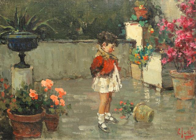 Vincenzo Irolli (Italian, 1860-1945) Bambino sul terrazo