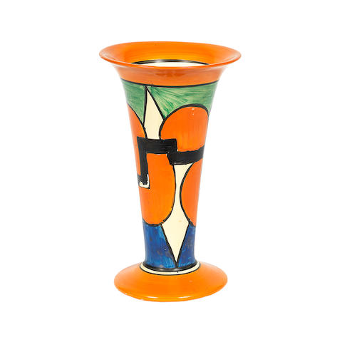 A Clarice Cliff 'Castellated Circle' Trumpet Vase 'BIZARRE' MARK TO BASE; 1929-1930