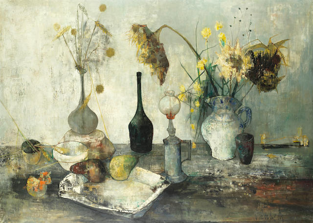 Jean Jansem (French, 1920-2013) Still life with sunflowers and fruit