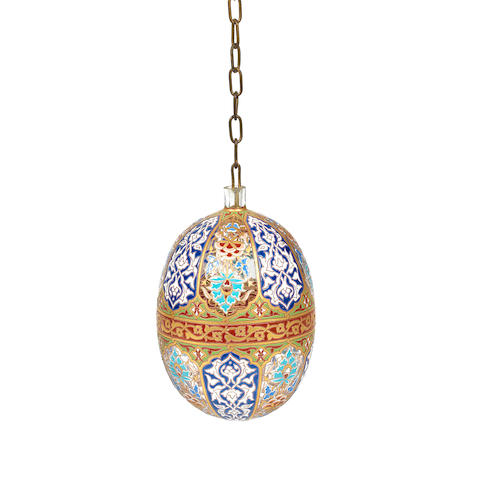 an enamelled glass 'mosque lamp' by philippe-joseph brocard in the islamic style ARTIST SIGNATURE, CIRCA 1880