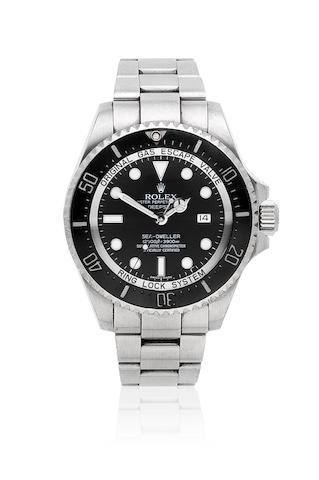 Rolex. A stainless steel automatic calendar bracelet watch  Deepsea Sea-Dweller, Ref: 116660, Circa 2010