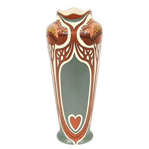 A Jugendstil Mettlach pottery vase incised with panels of poppies STAMPED MAKER'S MARKS, CIRCA 1900