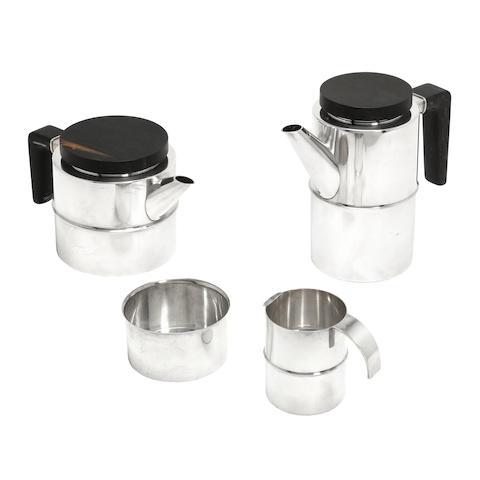 A Danish Silver Four-Piece Tea and Coffee Service, designed by Soren Georg Jensen (1917-1982) MARK OF GEORG JENSEN, COPENHAGEN, 1945-1977
