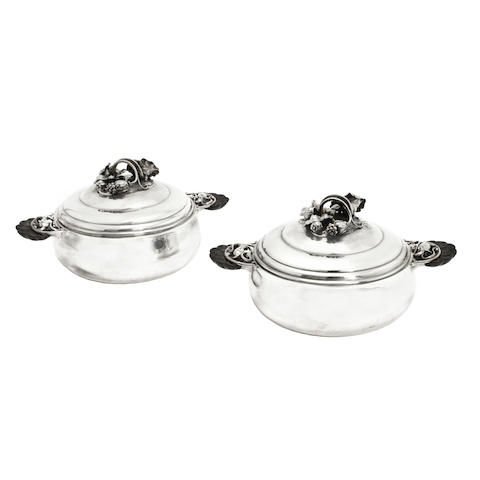 A Pair of Danish Silver Entrée Dishes, designed by Georg Jensen (1866-1935)  MARK OF GEORG JENSEN, COPENHAGEN, 1933-1944