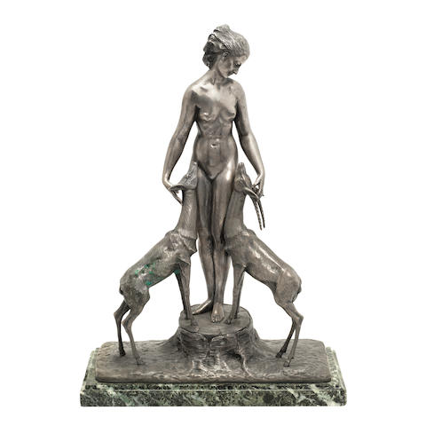 'Diana with stag and hind' an art deco silvered bronze study by marcel bouraine SIGNED IN CAST, CIRCA 1925