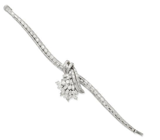 A diamond bracelet/watch, by Jaeger-LeCoultre, circa 1955