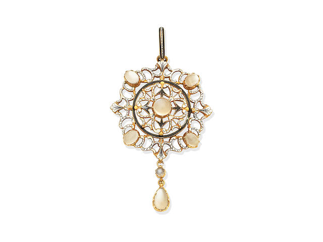 An enamel and moonstone pendant, by Carlo and Arthur Giuliano,