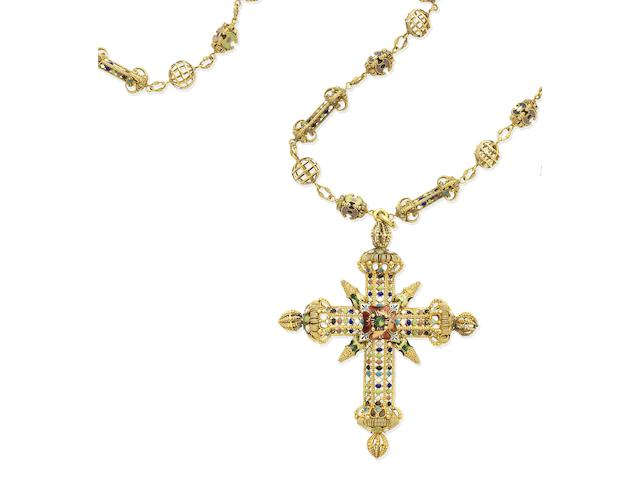 A gold and enamel cross pendant and chain, circa 1885-1900  (4)