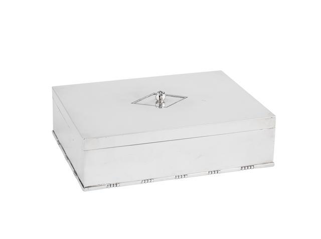 A Danish Silver Cigar Box, designed by Johan Rohde (1856-1935) MARK OF GEORG JENSEN, COPENHAGEN, 1933-1944