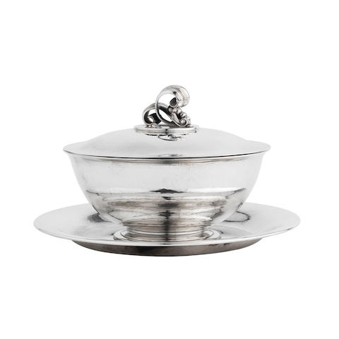 A Danish Silver Caviar Dish and Cover, designed by Harald Nielsen (1892-1977) MARK OF GEORG JENSEN, COPENHAGEN, 1945-1977