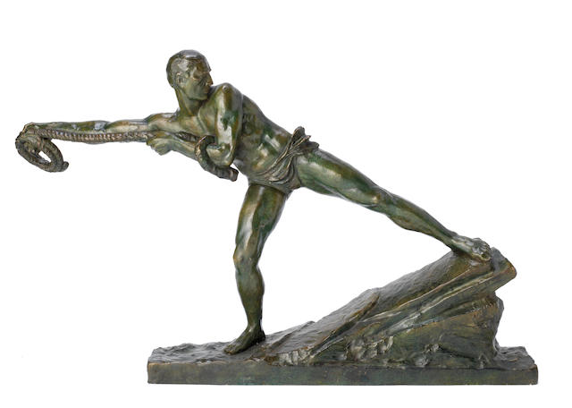 'Lariat' an art deco patinated bronze study of an athletic male figure by pierre le faguays  SIGNED IN CAST, CIRCA 1925