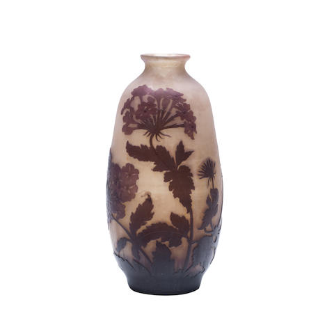 A Gallé cameo glass Vase with stems of purple foliage SIGNED 'Gallé', CIRCA 1910