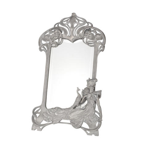 a WMF figural art nouveau easel mirror with maiden and peacock STAMPED MAKER'S MARKS, CIRCA 1900