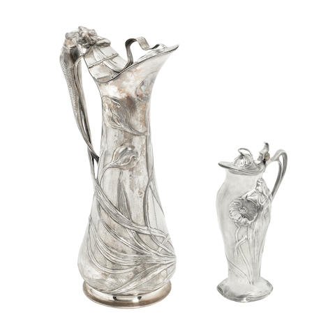 two wmf figural art nouveau lidded jugs STAMPED MAKER'S MARKS, CIRCA 1900