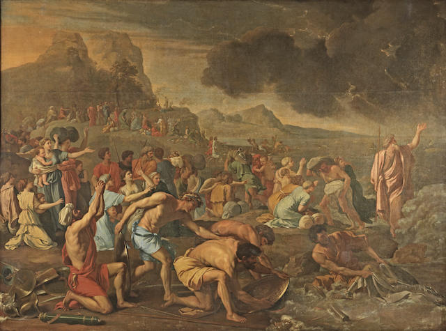 Attributed to Charles Lebrun (Paris 1619-1690) The Israelites crossing the Red Sea