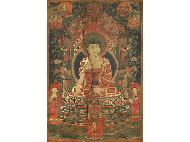 A thangka of Shakyamuni Buddha  Eastern Tibet, 17th/18th century