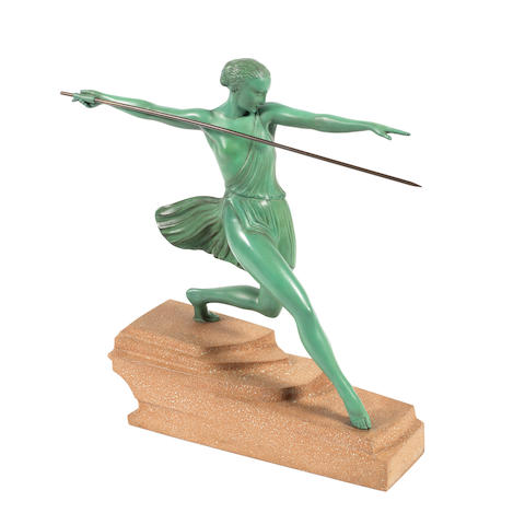 'Antiope' an art deco patinated art metal study by Fayral (Pierre Le Faguays) SIGNED 'FAYRAL' TO BASE; 20TH/21ST CENTURY