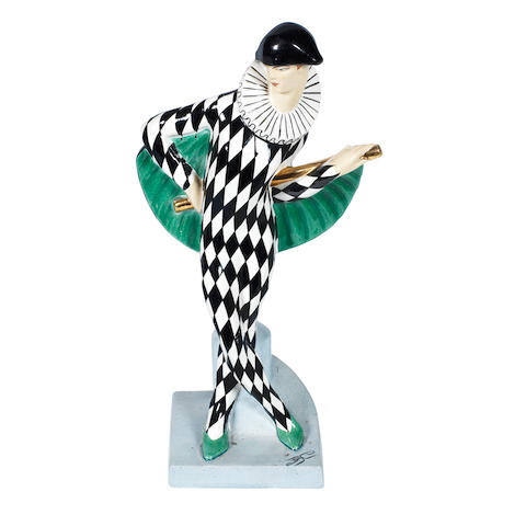 an Orchies art deco painted pottery study of a harlequin by dax (edouard cazaux) PAINTED ARTIST MARK, CIRCA 1925
