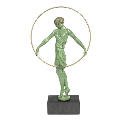 'Harmonie' an art deco patinated art metal study by fayral (pierre le faguays) SIGNED IN CAST, TWENTIETH CENTURY