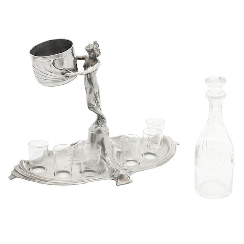 a WMF pewter figural art nouveau liqueur stand with glasses STAMPED MAKER'S MARKS, CIRCA 1900