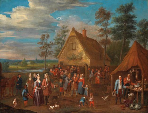 Circle of Gillis van Tilborch (Brussels circa 1635-circa 1678) A village market with elegant figures and their slave