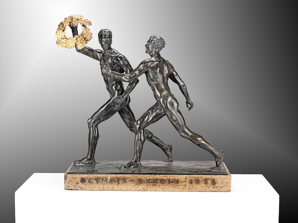 Eberhard Encke (German, 1881-1936) An Important Pair of German Bronze Sculptures of Olympic Athletes, after the monumental marble versions from 'The 1936 Berlin Summer Olympic Games'