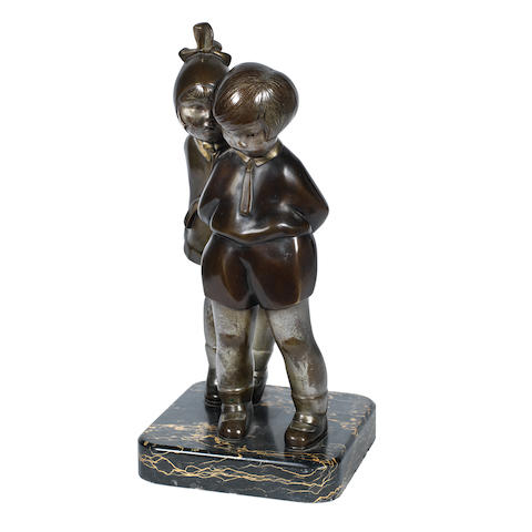 an art deco patinated bronze study of two children by alexandre kelety INCISED ARTIST NAME TO BASE, CIRCA 1925