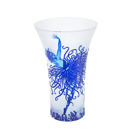 'applause' an acid-etched limited edition figural frosted glass vase by sevenart ltd after an image by erte ETCHED MAKER'S MARK TO BASE; CIRCA 1985