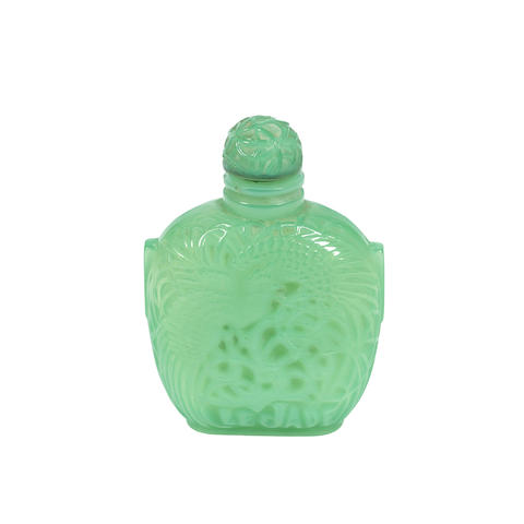 A René Lalique Opalescent, Frosted and Polished Green Glass 'Le Jade' Perfume Bottle and Stopper for Roger et Gallet MOULDED 'R.L FRANCE' AND 'ROGER ET GALLET PARIS'; PRE 1947