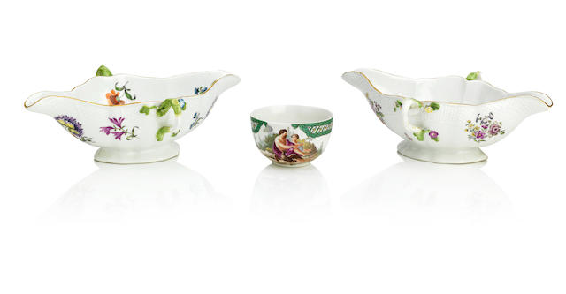 Two Meissen twin handled sauceboats together with a Frankenthal cup Circa 1755 and 1770