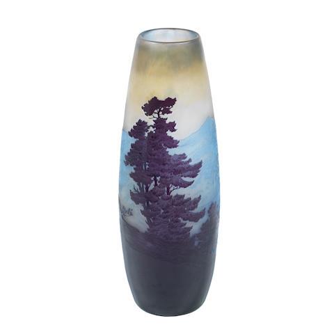 A Gallé cameo glass landscape vase SIGNED IN CAMEO, CIRCA 1900 34cm high.