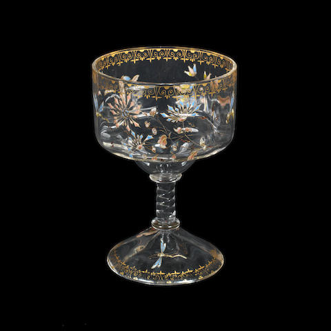 a Gallé art nouveau stemmed drinking glass enamelled with dragonfly and flora ARTIST SIGNATURE, CIRCA 1900