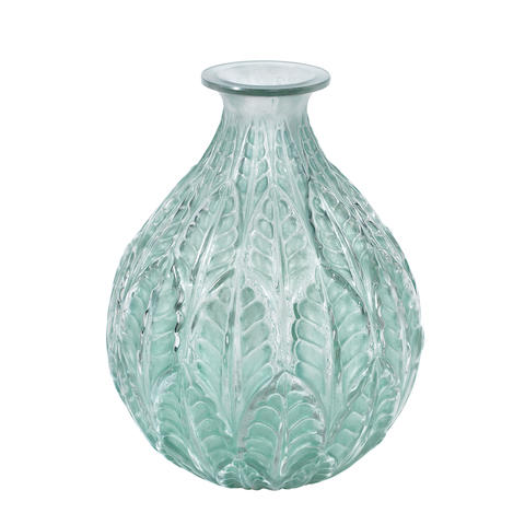 A RENÉ LALIQUE FROSTED AND POLISHED GLASS 'MALESHERBES' VASE ENGRAVED 'R.Lalique, France'; PRE 1947