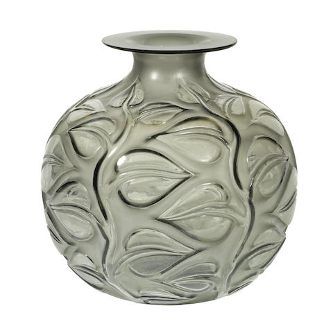 A René Lalique Frosted and Polished Smokey Grey Glass 'Sophora' Vase MOULDED 'R.LALIQUE'; PRE 1947