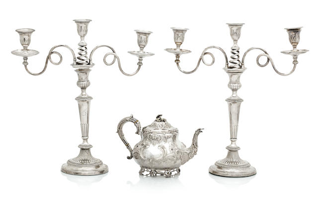 A pair of 19th century Sheffield plate candlesticks and later branches  (4)