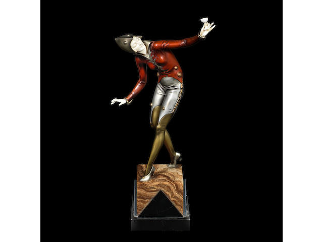 'champagne dancer' an art deco silvered, cold-painted bronze and carved ivory study by ferdinand preiss INCISED SIGNATURE TO BASE, CIRCA 1925