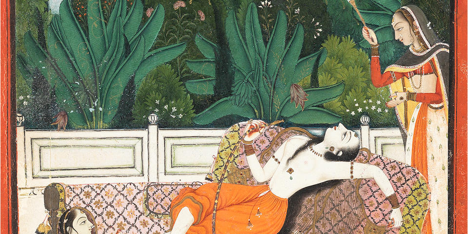 A maiden reclining languorously on a bed on a terrace, smoking a hookah, with two female attendants, perhaps an illustration to the story of Madhavanala and Kamakandala Bundi, circa 1780