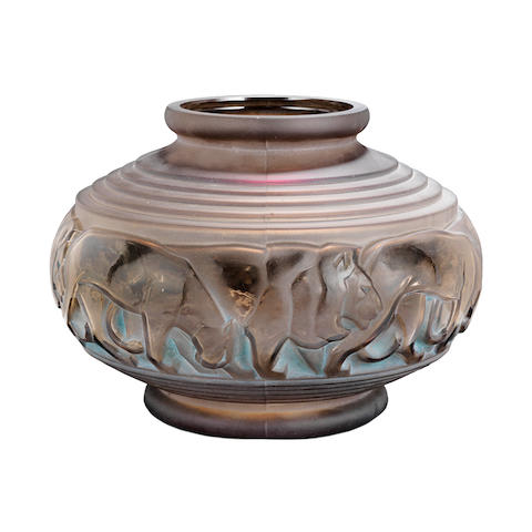 an art deco grey glass vase with frieze of lions and lionesses by Pierre d'Avsen ETCHED SIGNATURE TO BASE, CIRCA 1925