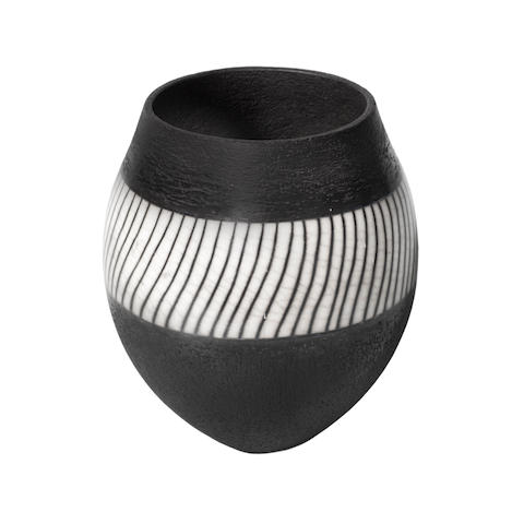 A Monochrome Vase by Ashraf Hanna (Egyptian, British 1967-)  INCISED ARTIST'S MONOGRAM; CIRCA 2005