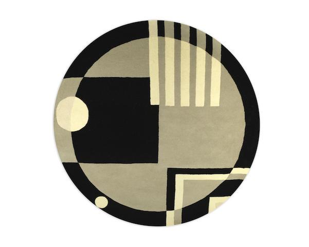 an art deco-style circular hand-tufted wool rug TWENTIETH/TWENTY-FIRST CENTURY