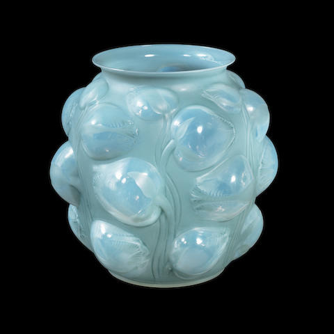 A René Lalique Opalescent, Frosted and Polished 'Tulipes' Vase MOULDED 'R.LALIQUE'; PRE 1947