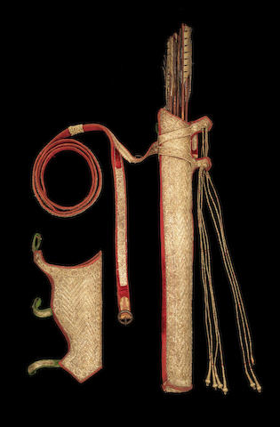 A gold-thread-embroidered velvet-clad leather quiver and bow holder, almost certainly made for Maharaja Ranjit Singh (Reg. 1801-1839), the Lion of the Punjab Lahore, circa 1838(11)