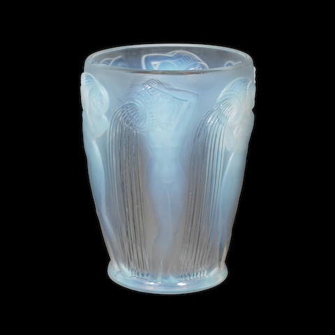 A René Lalique frosted and polished opalescent glass 'Danaïdes' vase ENGRAVED 'R.LALIQUE FRANCE'; PRE 1947