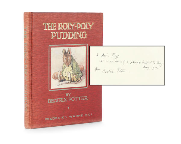 "POTTER (BEATRIX) The Roly Poly Pudding, FIRST EDITION, second issue, AUTHOR'S PRESENTATION COPY INSCRIBED ""To Miss Rigg in remembrance of a pleasant visit to the ferry, May 1912 from Beatrix Potter"" on the half-title, Frederick Warne, 1908"