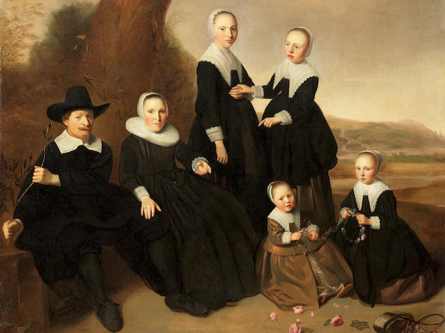 Dirck Dircksz. van Santvoort (Amsterdam 1610-1680) A group portrait of a gentleman and his wife, seated full-lengths, with their four daughters, in black costume, the youngest two seated making garlands of flowers, in a landscape