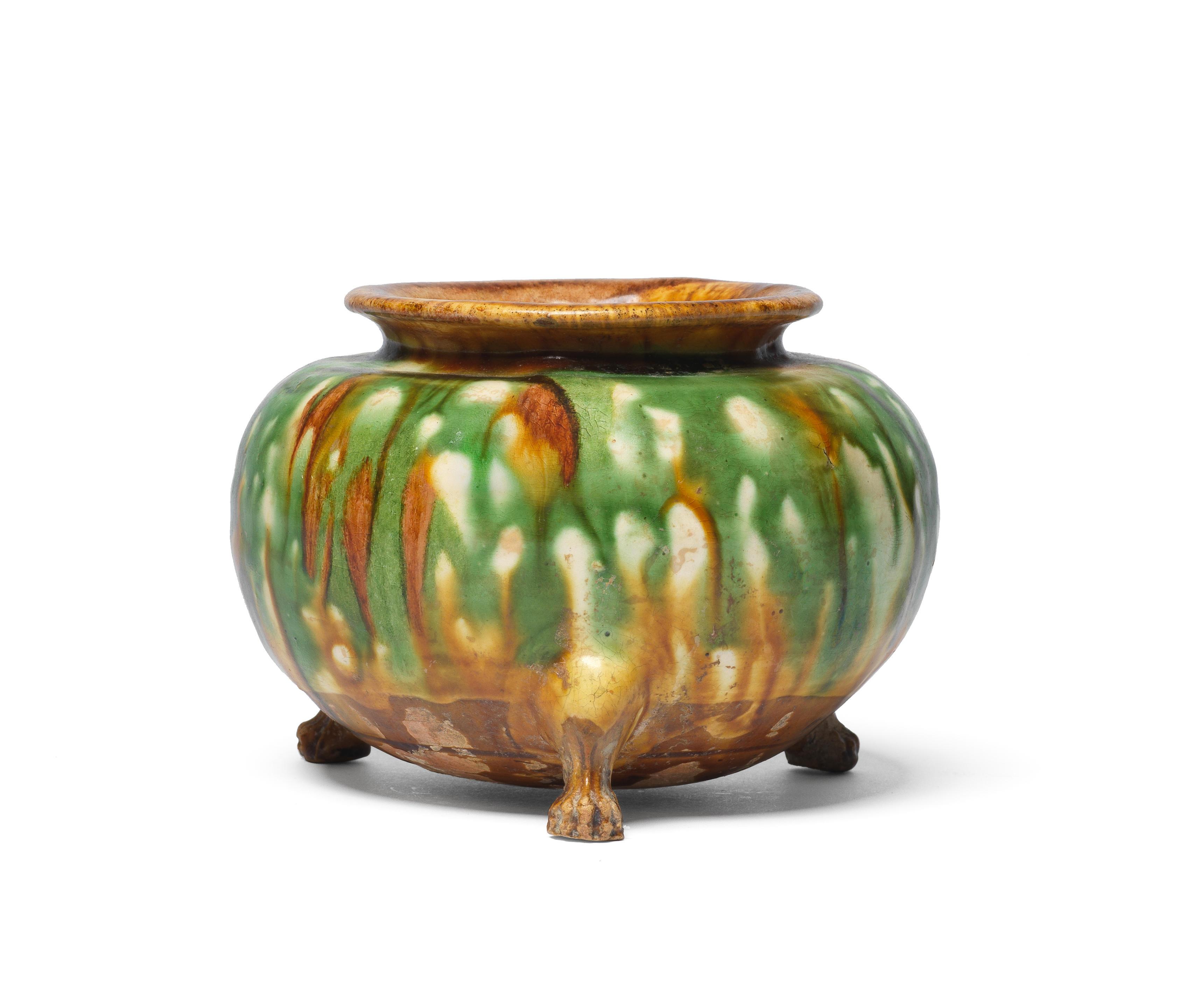 A sancai-glazed tripod incense burner