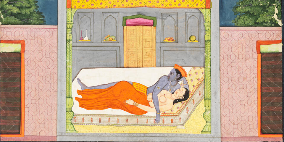 An illustration from the Sunder Shringar: Radha and Krishna lying on a bed within a pavilion Kangra or Guler, circa 1780