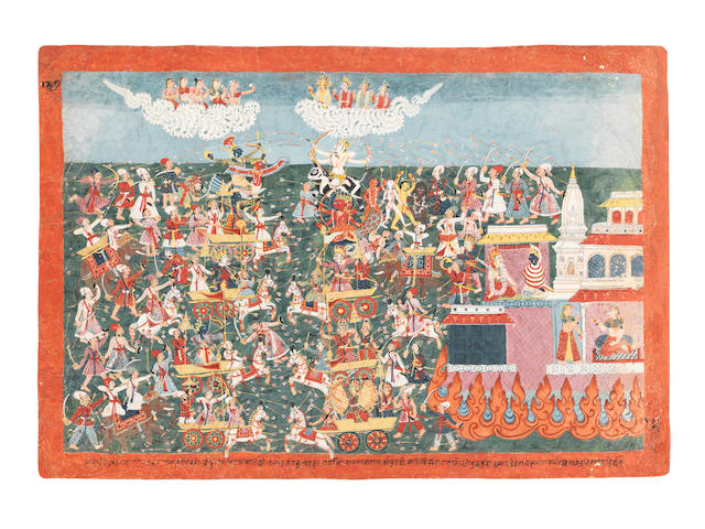 A large painting from a Bhagavata Purana series, depicting the battle of the Gods, with Vishnu riding on Garuda, Siva on the bull, outside a burning city, Brahma, Indra and other gods observing from the clouds Nepal, late 18th Century